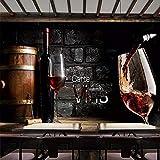 LONGYUCHEN Benutzerdefinierte 3D Seidentapete Retro Rotwein Brick Wall Hintergrund Wandmalerei Western Restaurant Bar Weingut Dekor Wandbild,180Cm(H)×280Cm(W)