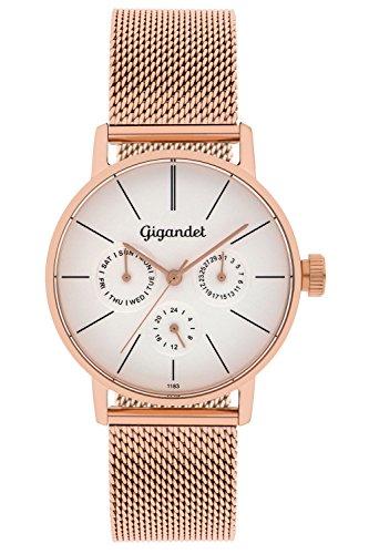 Gigandet G38-008 - Reloj para mujeres, correa de acero inoxidable color oro rosa