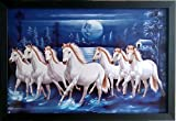 #1: Shree Handicraft Seven ( 7 ) White Running Horses with Black Frame Wall Hanging (47.5 cm x 32.5 cm x 1.5 cm, Black)