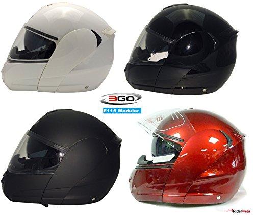 Caschi moto - 3go e115 casco moto scooter flip-up touring casco modulare sportivo corsa (xl, bordeaux rosso)