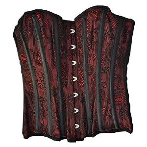 El celibato 53030141.084XS Burlesque Corsé con rayas verticales decorativas, grandes XS, rojo/negro