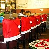 ShowPower 12 Pcs Bonnet De Père Noël Kit déco – 6 x Noël Housse de chaise + 6 pour couverts – Décoration Dîner De Noël Xmas Party...