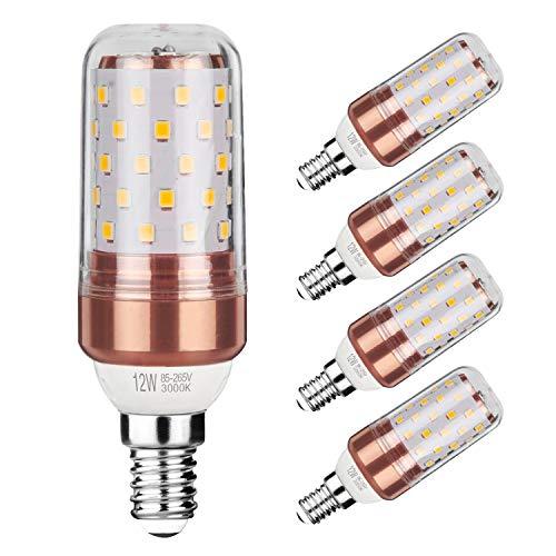 Gezee LED Ampoule de maïs E14 12W Candélabre ampoules 100W équivalent, 1200LM, Blanc Chaud 3000K ampoules LED Lustre décoratifs, non dimmable, Lot de 5