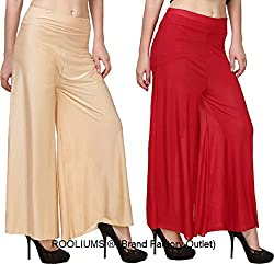 Rooliums Womens Trendy and Stylish Palazzo Pack of 2 (Beige,Red, Free Size)