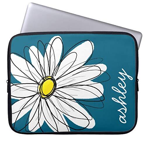 qidushop Trendy Daisy Floral Illustration Blue and Yellow 13 13.3 Inch MacBook Air Laptop Sleeve Soft Protective Neoprene Waterproof Sleeve Bag