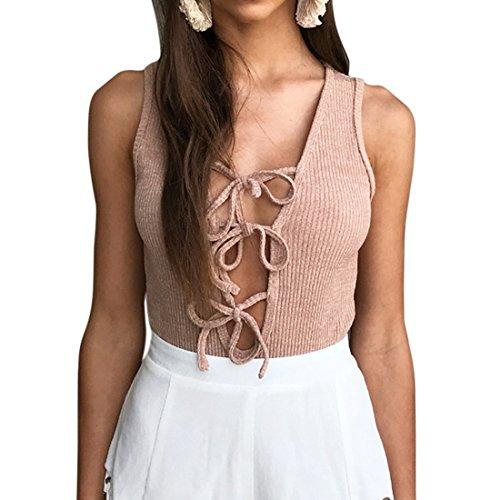 QIYUN.Z Femmes Deep V Neck Lace-Up Bodysuit Combinaisons Sans Manches Tops Café Léger