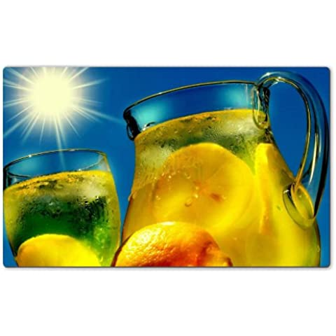 Cold Lemonade Juice Blaring Sun Table Mats Customized Made to Order Support Ready 28 6/16 Inch (720mm) X 17 11/16 Inch (450mm) X 1/8 Inch (4mm) High Quality Eco Friendly Cloth with Neoprene Rubber MSD Deskmat Desktop Mousepad Laptop Mousepads Comfortable Computer Place Play Mat Cute Gaming Mouse pads - Pad Lemonade