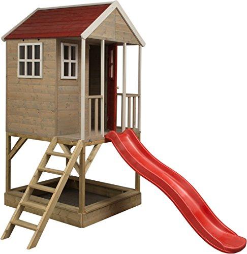 Casita infantil de madera para exterior | Casa de jardín de tipo abierto | casa de aventura nórdica en plataforma con tobogán, balcón, ventana de plexiglás, estante de juguetes, puerta completa