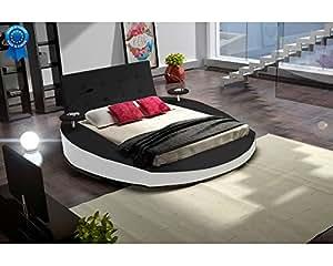Lit rond noir design Tiziana 180cmx200cm Noir Sans matelas Sans sommier