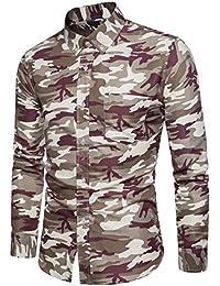 Cebbay Liquidación Camisa Estampada de Hombre Top de Camuflaje de Manga Larga y diseño Delgado Pullover Ropa de Hombre