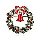 Aruie Brosche für Damen, Mädchen, Legierung, Zirkonia, Strass, Schleife, Girlande, Blumenkranz, Glöckchen, Emaille, Geschenke Weihnachten