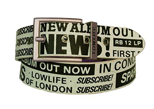 Lowlife of London Geknackt Leder Gürtel wendbar Musik News Print Gr. Medium, Weiß / Schwarz (Print Reversible Belt)
