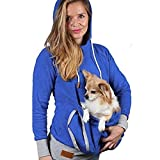 Damen Kapuzenpullover Mumuj Unisex Känguru Hund Katze Halter Beutel Tasche Baumwolle Bluse Hoodies Top Fashion Blau Pulli Tasche Streetwear