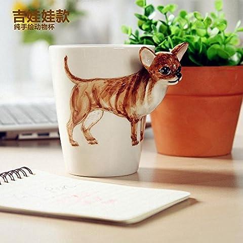 ZIMEI Fatto a mano 3D Chihuahua in ceramica tazze, tazzine, ad alta temperatura, forno a microonde 420ml , 2 set - Starbucks Tazze E Tazzine