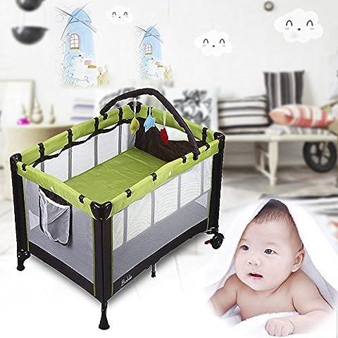 Babybett 2-in-1 Konzept vom Reisebett und Laufstall, Klappbett mit Laufstall höhenverstellbar mit Matratze und 2 Rollen, Größe 100X70x76cm