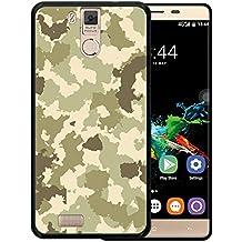Funda Oukitel K6000 Pro, WoowCase [ Oukitel K6000 Pro ] Funda Silicona Gel Flexible Camuflaje Militar Verde, Carcasa Case TPU Silicona - Negro