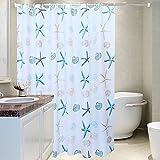 Coocle Wasserdichter Duschvorhang, Polyestergarn 3D Ausdrücken Badezimmer Vorhänge für Duschen mit Freiem Kunststoffhaken (80x180cm)