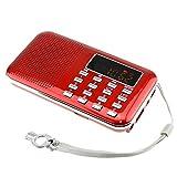iMinker tragbare Mini-Digital-AM / FM-Radio-Mittel-Lautsprecher-MP3-Player-Unterstützungs-TF-Karte / USB-Anschluss mit LED-Screen-Display, Notfall-Taschenlampe, 3,5-mm-Kopfhörerbuchse (Rot)