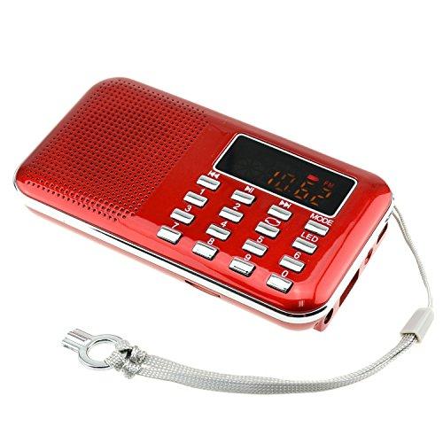 Iminker mini portatile digitale am / fm dell'altoparlante di mezzi di musica mp3 player di sostegno tf / porta usb con schermo di visualizzazione del led, torcia elettrica di emergenza, 3.5mm jack (rosso)