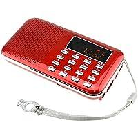 iMinker mini portátil de MP3 Radio AM / FM altavoz de medios digitales de la música del jugador de tarjeta del TF / Puerto USB con pantalla LED, la linterna de emergencia, de 3,5 mm para auriculares Jack (rojo)