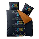 Celinatex Ropa de cama algodón 200x 220Celin ATEX 0003600Fashion Love Negro Naranja Reversible Diseño