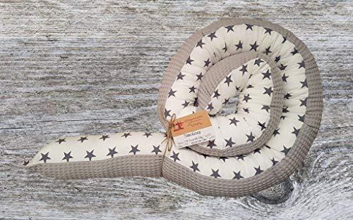 Bettschlange, Weiß mit Sternen und grauem Waffelpique, 180cm bis 300cm wählbar, Handmade, ÖKO-TEX® Standard 100 zertifizierte Materialien, 100% Made in Germany
