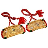 Geode Delight Gold-Plated Bajubandh Armlet Pearl Shape Rajputi Jewelry for Girls and Women