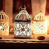 Cosanter 2× Metall Kerzenhalter Laterne Deko Klassischer Europäischer Stil Vogelkäfig Teelicht Kreative Hochzeit dekoration Birdcage Weiß für Geldgeschenke Briefe und Erinnerungen