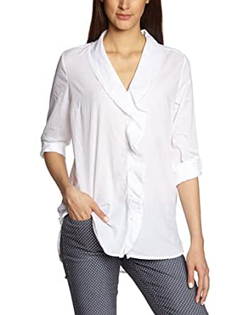 More & More Damen Regular Fit Bluse 41032020 Bluse 1/1 Arm normal, Gr. 38, Weiß (white 010)