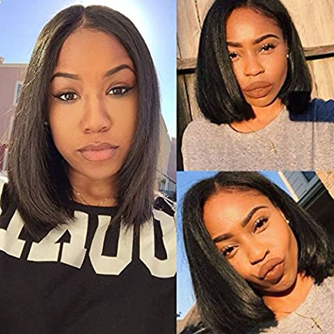 Maycaur Black Color Short Cut Bob Hair Synthetic Lace Front Wig With Baby Hair Glueless Wigs 14 Inch