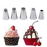 FantasyDay Decorazione Torte Set, 5 Pezzi Ugello in Acciaio Inossidabile Decorazione Pasticceria #1 - Bocchette Decorative Accessori per Torte, Cupcakes, Pasta di Zucchero, Biscotti e Pasticceria