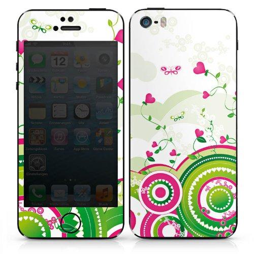 Apple iPhone 4 Case Skin Sticker aus Vinyl-Folie Aufkleber Herz Bunt Frühling DesignSkins® glänzend
