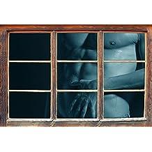 homme nu avec une femme B & W détailsWindows en 3D regarder, taille sticker mural ou de porte: 62x42cm, stickers muraux, sticker mural, décoration murale