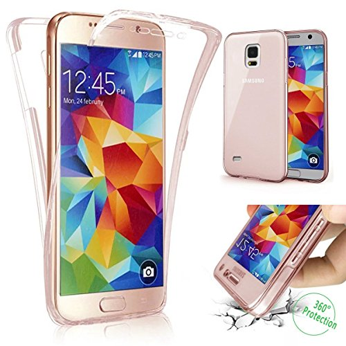Galaxy S5 Tpu Handyhülle,Samsung Galaxy S5 Silikon hülle,JAWSEU Kreative 360°Neuheit Rose Gold Kratzfest Schutz Durchsichtig Weich Gel Ultradünn Case Etui Transparent Clear Slim Fit Flexibel Rubber Fall Tasche Schutzhülle für Samsung Galaxy S5+1xSchwarz Glitzer Bling Eingabestift-360°Rose Gold