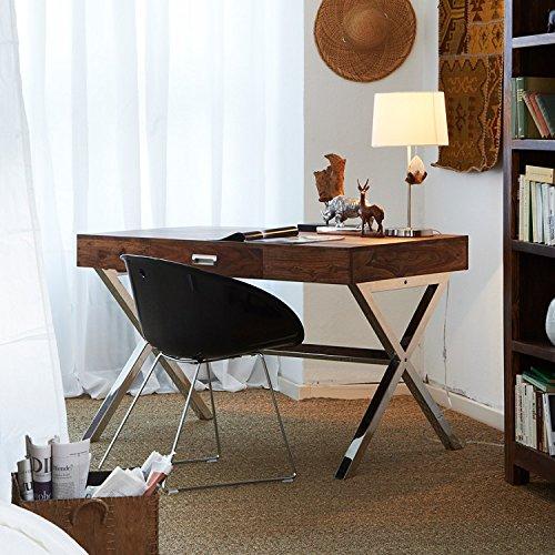 Holz Dekor Schreibtisch mit X Design Edelstahl Beinen & Holz Top mit 1Schublade, Sheesham Natur Farbe, 118x 60x 76cms (Beine Ss)