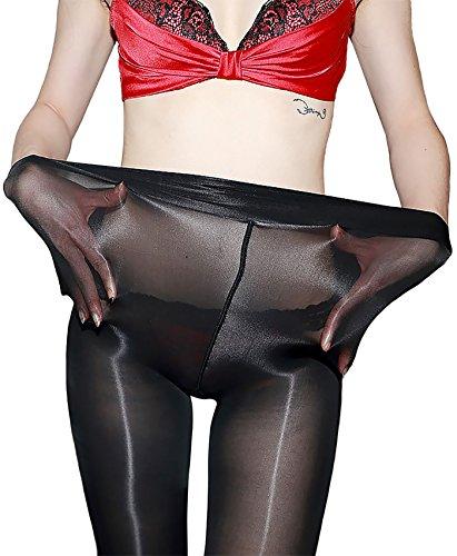 RICHTOER 8D Women\'s Shaping Socks Oil Socks Shiny Silk Stockings Pantyhose Dance Tights (Black)