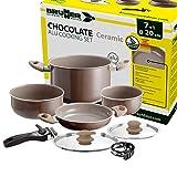 Brunner: Camping Kochgeschirr-Set Keramik (Töpfe und Pfannen) - ø 20 oder 22-cm Chocolate - 4 Personen, Beschichtet, Leicht, Hochwertig, Stapelbar