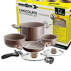 Brunner: Camping Kochgeschirr-Set Keramik (Töpfe und Pfannen) – ø 20 oder 22-cm Chocolate – 4 Personen, Beschichtet, Leicht, Hochwertig, Stapelbar