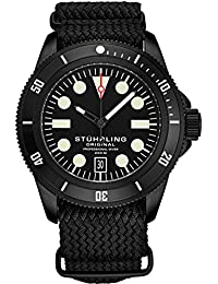 Stuhrling Original Watches for Men - Dive Watch-Sports Watch for Men with Screw Down Crown for Water Resistant to 200M - Nylon Analog Watch Japanese Quartz Watch Movement - Mens Watches (Black)