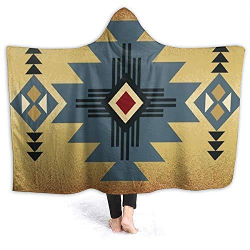"""Indianer-Satteldecke Muster Fleece Kapuzendecke Überwurf leicht weiche Decken für Sofa Stuhl Bett Büro Camping, Schwarz, 80\""""x60\"""""""