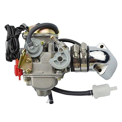 GOOFIT 24mm PD24 Vergaser Vergaseranlagen mit E-Choke Abgaskrümmer Saugschlauch chrom für GY6 150cc 152QMI 157QMJ ATV Go Kart Moped Motorrad und Scooter