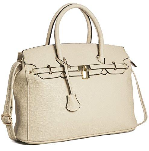Damen-Handtasche aus Kunstleder von Big Handbag Shop, von Designern inspirierte Tragetasche Umhängetasche Light Beige
