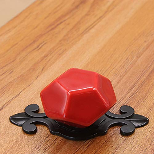 5 Backplate (Behandeln 5 Pack Keramik und zieht for Küchenschränke Hardware mit Backplate große runde Knöpfe (Color : Red, Size : 39mm))