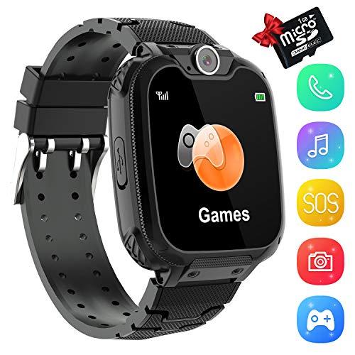 KinderSpiel Smartwatch Uhr-Spiel Kamera Smart Watch Touchscreen Elektronische Lernspielzeug Digitale Armbanduhr für Jungen und Mädchen (Schwarz)