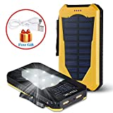 Noza Tec 15000mAh High Capacity Solar Power Charger Waterproof Solar Panel Backup Portable Power Bank Shockproof Dual USB Port External Battery Charger with LED Flashlight for Cell Phones iPhone 6s Plus Tablet Camera (Yellow)