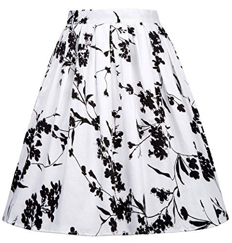 A-linien Röcke Elegant Faltenrock Knielang Vintage mit Mehren Farben (X-Large, Farbe 24)