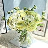 huichang Unechte Blumen Rose, 1 Strauß Künstliche Rose Blütenkopf und Blütenknospe zur Dekoration Haus Garten Party Blumenschmuck (Grün)