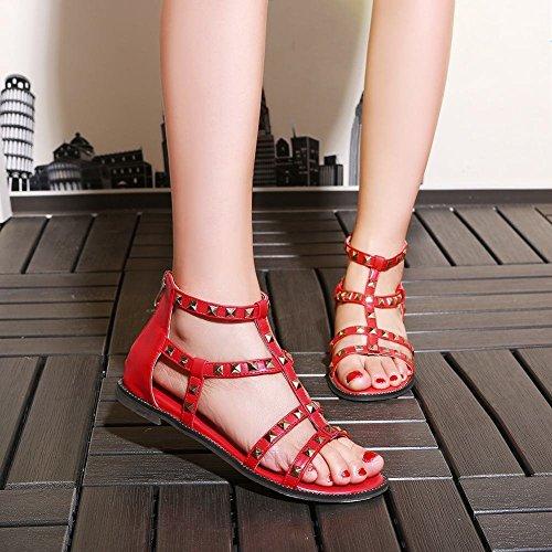 Mee Shoes Damen modern bequem populär Reißverschluss Knöchelriemchen flach mit Niete Knöchelriemchen Sandalen Rot