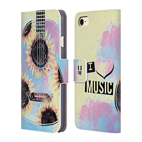 Head Case Designs Boutons De Joueur Tout De Musique Étui Coque De Livre En Cuir Pour Apple iPhone 6 / 6s Tournesol Et Guitare