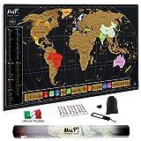 Mappa del Mondo da Grattare MuP!   Design Italiano Grande Cartina Geografica Panoramica   Idee Regalo Viaggiatori Poster Mappamondo Planisfero A Graffio   Arredo Parete Scratch The Original World Map